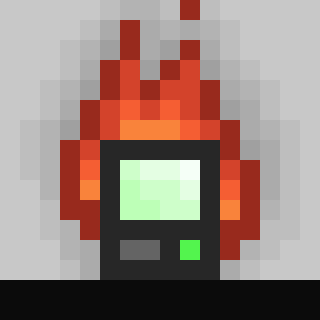 The horrific dev logo: a pixelated burning computer.